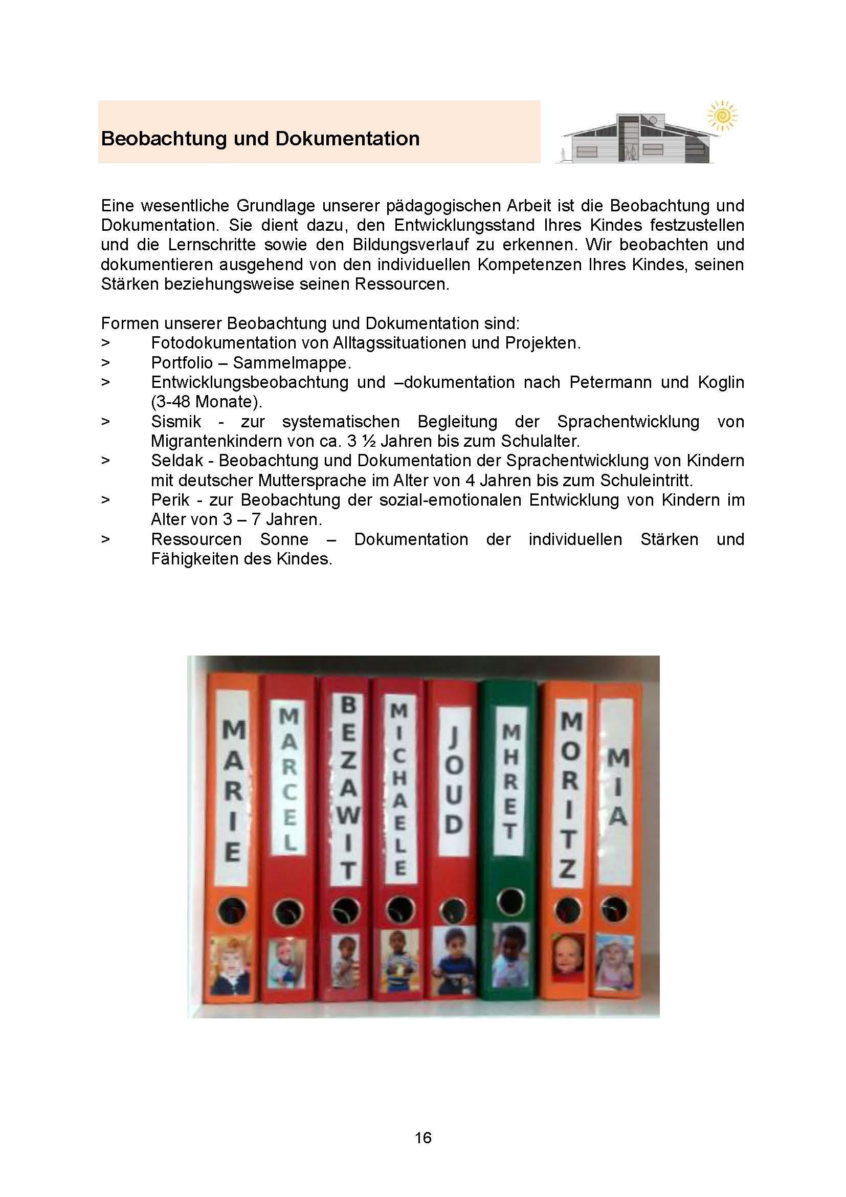 Seite 16 Beobachtung und  Dokumentation